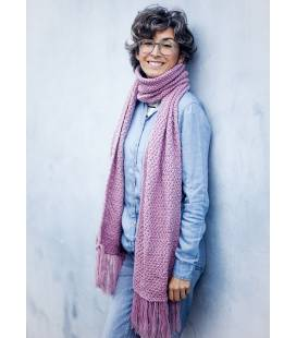 Pink Vegan Wool Scarf With Fringes
