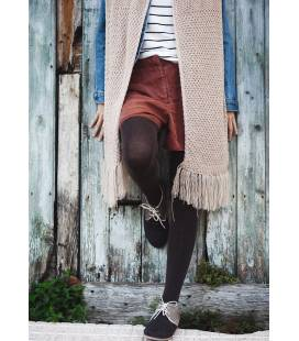 Nude Vegan Wool Scarf With Fringes