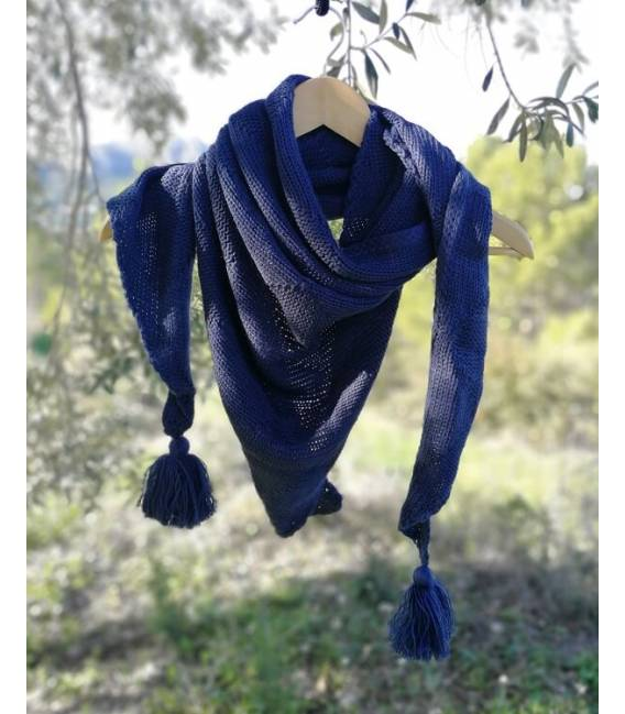 Bufanda de Lana Vegana Triangular Azul