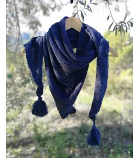 Triangel Vegan Wool Scarf In Blue