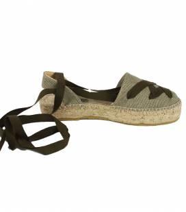 Ankle-Tie Espadrilles Amazona Khaki
