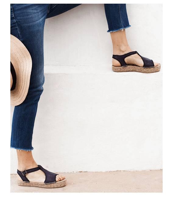 Espadrille Platform Sandals Luna Deep Blue