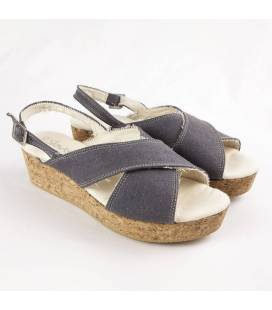 Cork Wedge Sandals Selene Grey