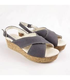 Sandalia de Plataforma de Corcho Selene Gris