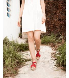 Espadrille Platform Sandals Luna Red