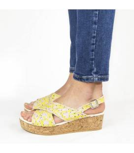 Cork Wedge Sandals Selene Print Branches