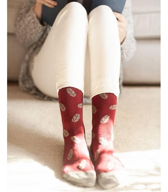Calcetines de algodón orgánico Burdeos