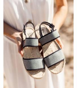 Flat Jute Sandals Posidonia Denim