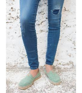 Flat Espadrilles Akane Green Triangles