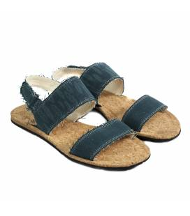 Flat Sandals Makena Blue Leaves