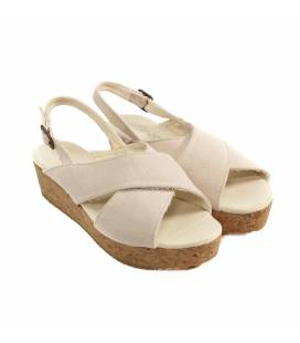 Sandalia de Plataforma de Corcho Selene Piedra