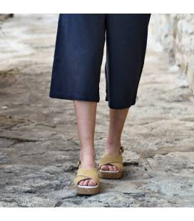 Sandalia de Plataforma de Corcho Selene Ocre