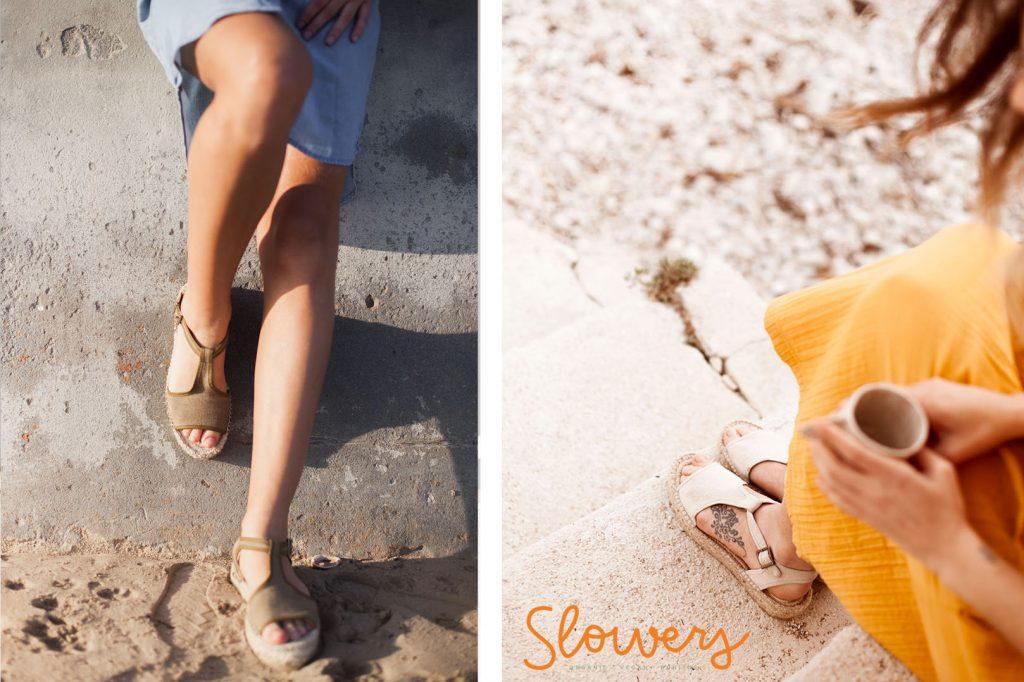 Sandalias nude algodón orgánico y yute