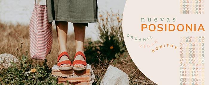 Sandalias planas posidonia sostenibles. De algodón orgánico y suela de yute y cocho.