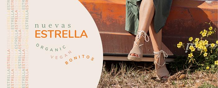Sandalias Slowers Estrella sostenibles. De algodón orgánico y cuña de esparto.
